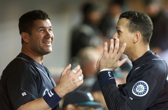 1992 & 1996 P-I SSY Edgar Martinez and Alex Rodriguez chat in the dugout during the 2000 season (Dan DeLong/Seattle Post-Intelligencer
