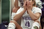 2008 SSY Washington Huskies goalkeeper and forward Hope Solo wipes back tears after her team's loss to Portland in the third round of the NCAA Women's College Cup soccer tournament. (Dan DeLong/Seattle Post-Intelligencer)