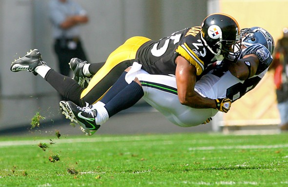 2008 winner Seahawks' reciever Bobby Engram is leveled by Pittsburgh safety Ryan Clark after a catch in the first quarter as the Steelers shutout Seattle Seahawks 21-0 at Heinz Field in Pittsburgh, PA in 2007. (Scott Eklund/Seattle Post-Intelligencer)