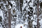 Steve, the groom, cross-country skis on a trail around Lake Louise (Photo by Andy Rogers/Red Box Pictures)