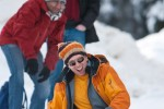 Steve rides the crazy carpet down a slope toward Lake Louise. (Photography by Scott Eklund/Red Box Pictures)