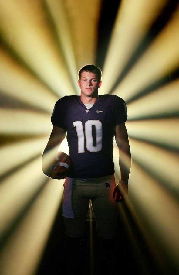 2010 nominee, then UW freshman quarterback Jake Locker poses for the cover of the 2007 college football special section. (Photo by Dan DeLong/Seattle Post Intelligencer)