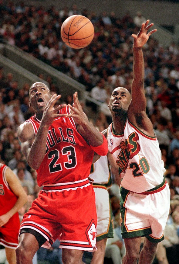 1997 SSY winner Gary Payton swipes the ball from MJ during the 1996 season that saw Jordan's bulls top the Sonics in the NBA Finals. (Scott Eklund/Seattle Post-Intelligencer)