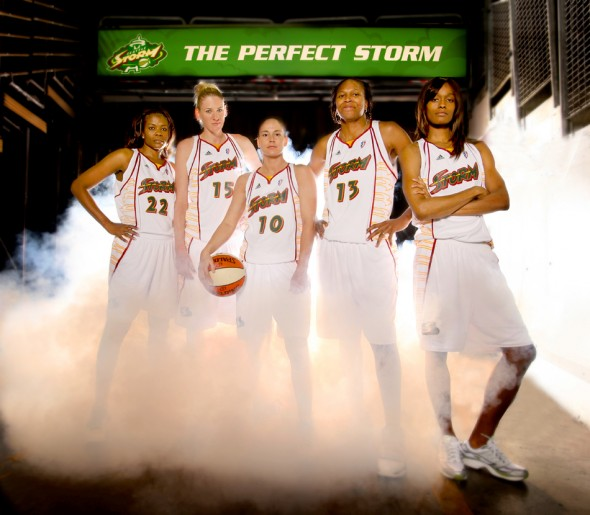 2010 nominee Swin Cash (far right) along with the rest of her the Seattle Storm high profile starting five (from left to right) Sheryl Swoopes, Lauren Jackson (2003 winner), Sue Bird (2002 winner), Yolanda Griffith and Cash photographed at Key Arena in Seattle.(Scott Eklund/Seattle Post-Intelligencer)