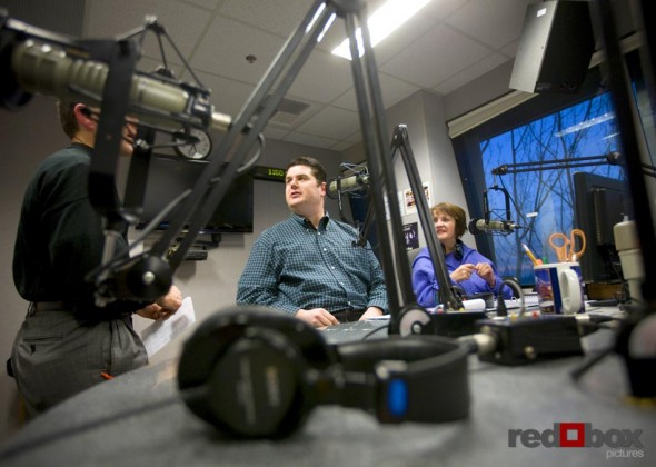 Gayle O'Donnell (right) and Greg Lowder talk with Eddie Redman of Grand Event Rentals in the studio for their first show.(Photography by Scott Eklund/Red Box Pictures)