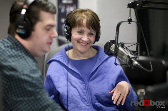 Gayle O'Donnell (right) smiles during the first show she will co-host with Greg Lowder. (Photography by Scott Eklund/Red Box Pictures)