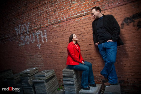 Tara and Brian's engagement portrait in Old Ballard neighborhood of Seattle. (Photography by Andy Rogers/Red Box Pictures)