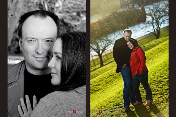 Tara and Brian among the trees at the Ballard Locks for engagement portraits. (Photos by Andy Rogers/Red Box Pictures)