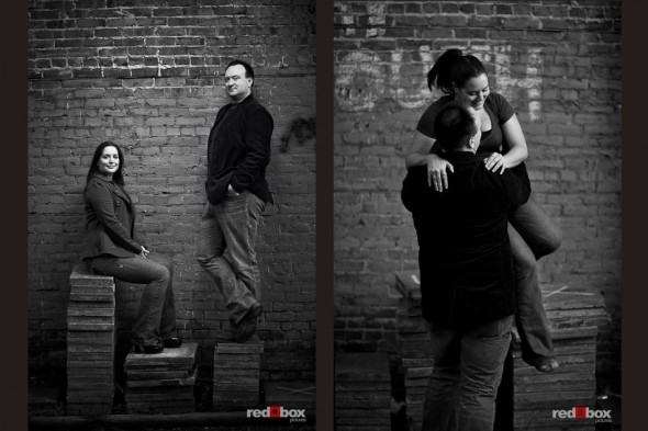 Tara and Brian's engagement photos in Ballard by a brick wall. (Photo by Andy Rogers/Red Box Pictures)