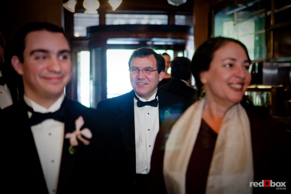 Kris waits for the start of his wedding ceremony at the Lake Union Cafe with his father and officiant in Seattle. (Photo by Rob Sumner/Red Box Pictures)