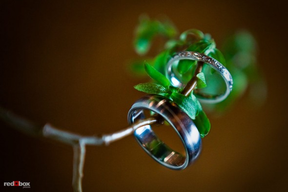 The bride and groom's wedding bands at the Lake Union Cafe in Seattle. (Photo by Andy Rogers/Red Box Pictures)