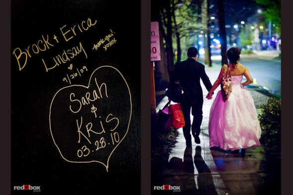 Sarah signed the wall at the Lake Union Cafe and the bride and groom walk to their car after the wedding in Seattle. (Photo by Andy Rogers/Red Box Pictures)