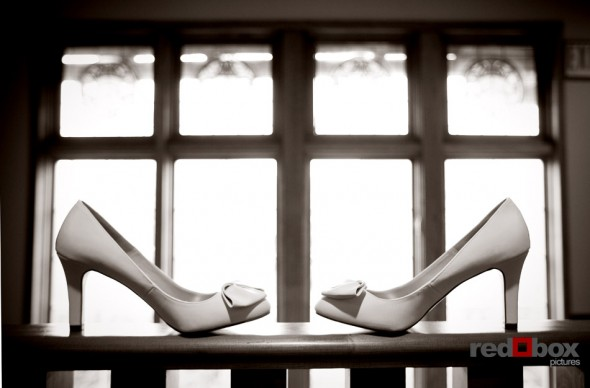 The bride's shoes at the Bacon Mansion in Seattle. Wedding Photography By Scott Eklund/Red Box Pictures