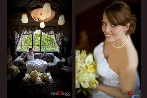 The bride sits by and is lit by window light at the Bacon Mansion in Seattle, Washington on Capitol Hill. Scott Eklund/Red Box Pictures/Wedding Photographer