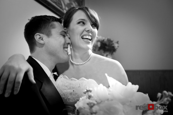 The bride and groom see each other for the first time prior to the start of their wedding at the Bacon Mansion on Capitol Hill in Seattle. Scott Eklund/Red Box Pictures/Wedding Photographer