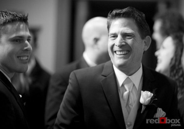 The father of the groom smiles during the wedding at the Bacon Mansion in Seattle on Capitol Hill. Wedding Photography Red Box Pictures Scott Eklund