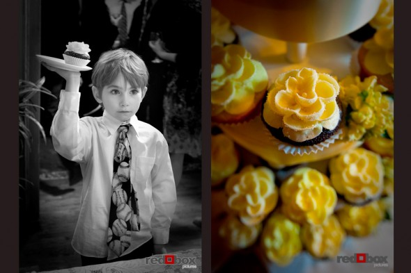 This little boy holds up a cupcake during the reception at the Seattle wedding at the Bacon Mansion on Capitol Hill. Wedding photography by Red Box Pictures/Scott Eklund