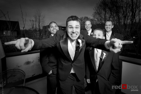 The groom rocks during this portrait at his Seattle wedding on Capitol Hill at the Bacon Mansion. Red Box Pictures Wedding Photographer Scott Eklund