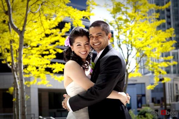 Neel & Johnna after their wedding at St. Louise Catholic Church in Bellevue. (Wedding Photographer Scott Eklund Red Box Pictures)