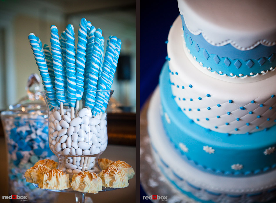 A blue and white candy bar for wedding guests at the Woodmark Hotel in