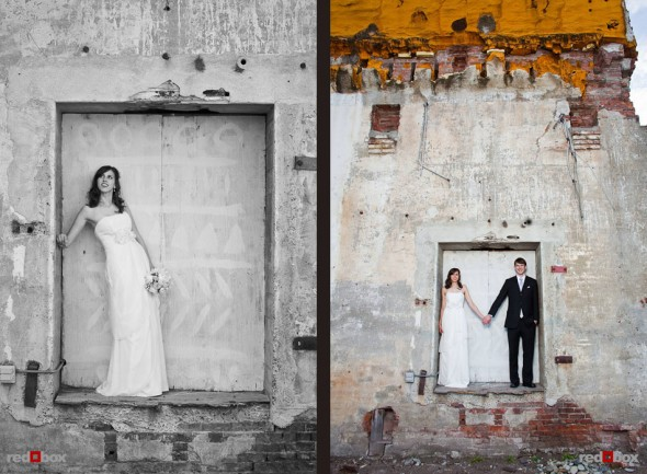 Bride Kate and groom Dan pose for portraits outside the Georgetown Studios in Seattle. (Photo by Dan DeLong/Red Box Pictures)