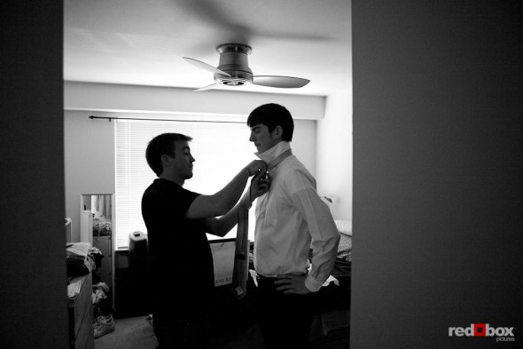 Dan gets some help with his tie while getting ready for his wedding to Kate in Seattle. (Photography by Andy Rogers/Red Box Pictures)