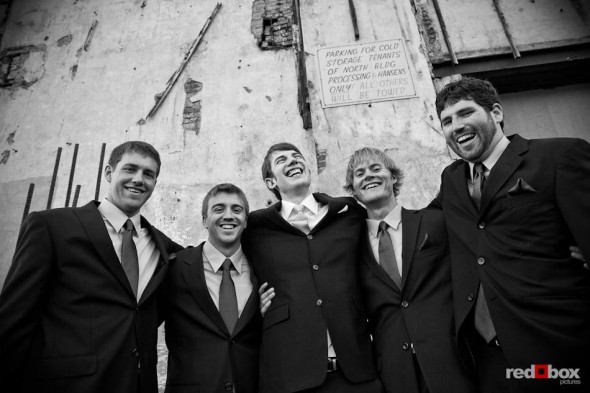 Dan and his groomsmen share a laugh before his wedding to Kate at the Georgetown Studios in Seattle. (Photo by Dan DeLong/Red Box Pictures)