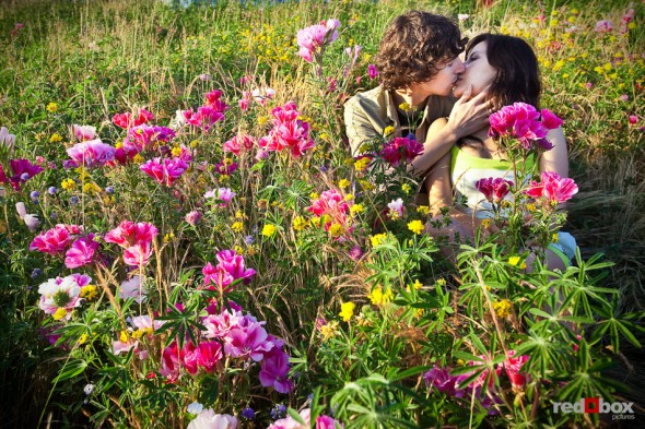 Anghi and Andy's kiss among the flowers at the Seattle Art Museum Sculpture Park during their engagement photo session. Photo by Dan DeLong/Red Box Pictures
