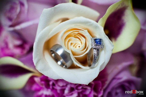 Kate and Dan's wedding rings are photographed in her bouquet at the Georgetown Studios in Seattle. (Photo by Dan DeLong/Red Box Pictures)