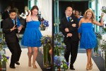 The Groomsmen and Bridesmaids dance to the Black Eyed Peas as they walk down the aisle during the wedding ceremony at the Woodmark Hotel in Kirkland, WA. (Photography by Andy Rogers/Red Box Pictures)