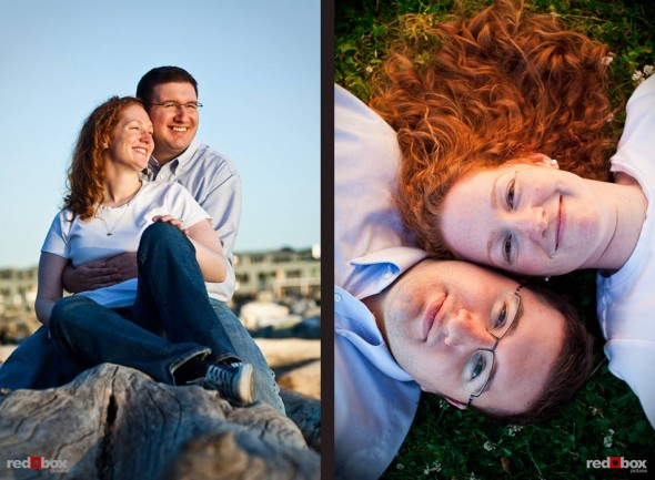 Katherine and Bryan watch the sunset over Elliott Bay during their engagement session at Myrtle Edwards Park in Seattle. (Photo by Dan DeLong/Red Box Pictures)