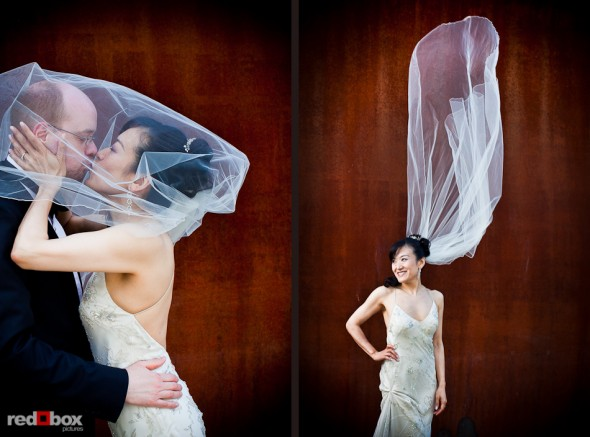 Nobuyo and Rory at the Seattle Art Museum (SAM) Olympic Sculpture Park prior to their wedding aboard the Virginia V steam ship in Seattle. Photos by Seattle wedding photographer Andy Rogers of Red Box Pictures