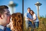 The Space Needle looms behind Katherine and Bryan during their engagement portrait session in Seattle. (Photo by Dan DeLong/Red Box Pictures)