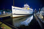 The Virginia V is docked in South Lake Union in Seattle following Nobuy and Rory's wedding and reception. Photo by Seattle wedding photographer Andy Rogers of Red Box Pictures.