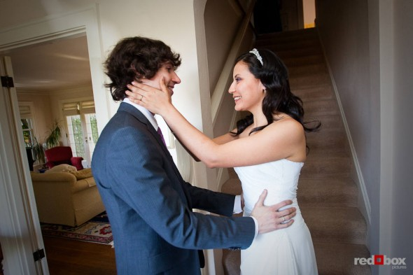 Anghi and Andy see each other for the first time on their wedding day in Seattle. (Photo by Dan DeLong/Red Box Pictures)