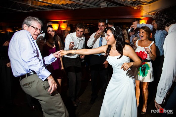 Anghi dances with her new father-in-law after marrying Andy at The Canal in Seattle. (Photo by Dan DeLong/Red Box Pictures)