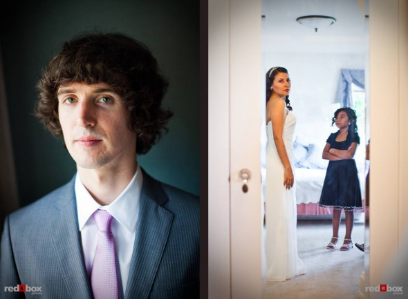 A portrait of groom Andy as Anghi looks at her dress before their wedding at The Canal in Seattle. (Photo by Dan DeLong/Red Box Pictures)