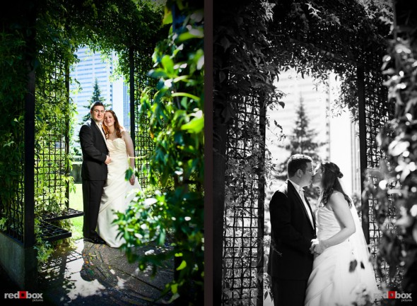 Katherine and Bryan during a wedding day portrait session at Freeway Park in Seattle. (Photo by Dan DeLong/Red Box Pictures)