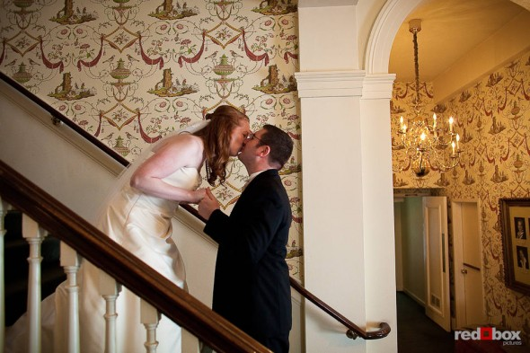 Katherine and Bryan's kiss after their first look before their at the Women's University Club in Seattle. (Photo by Dan DeLong/Red Box Pictures)