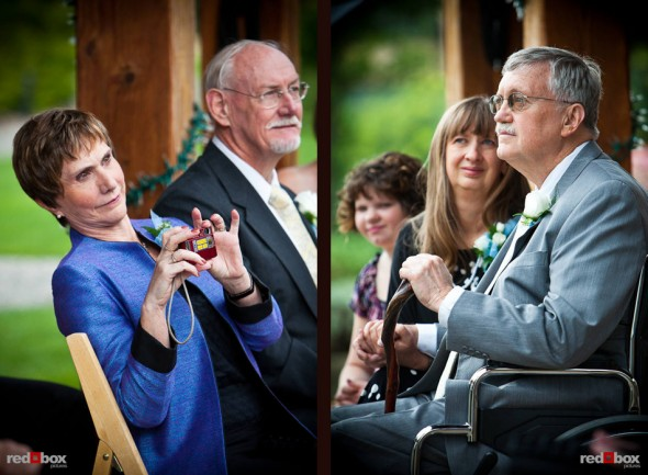 Mike and Angi's parents watch as they are married at The Willows Lodge in Woodinville, WA. (Photo by Dan DeLong/Red Box Pictures)