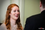 Katherine becomes emotional as she listens to Bryan say his vowe during their wedding in the ballroom of the Women's University Club in Seattle. (Photo by Dan DeLong/Red Box Pictures)