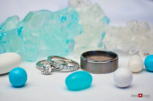 Angi and Mike's rings pictured with sweets from their candy bar at Willows Lodge in Woodinville, WA. (Photo by Dan DeLong/Red Box Pictures)