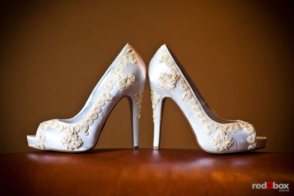 Angi's wedding shoes photographed at Willows Lodge in Woodinville, WA. (Photo by Dan DeLong/Red Box Pictures)