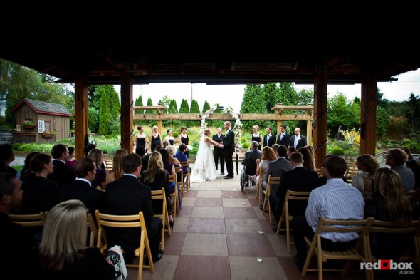 The outdoor wedding of Angi and Mike in the beautiful courtyard at Willows Lodge in Woodinville, WA. (Photo by Dan DeLong/Red Box Pictures)