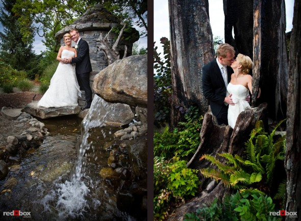 Outdoor portraits of Angi and Mike on the beautiful grounds at Willows Lodge in Woodinville, WA. (Photo by Dan DeLong/Red Box Pictures)