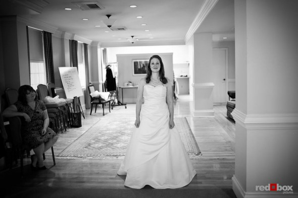 Katherine waits for her wedding ceremony to begin at the Women's University Club in Seattle. (Photo by Dan DeLong/Red Box Pictures)