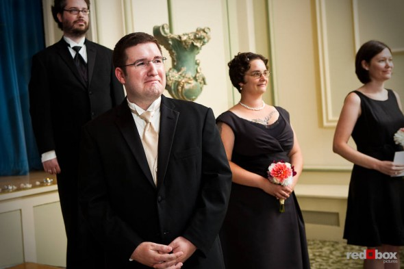 Bryan is overcome as his wife-to-be Katherine enters for their wedding at the Women's University Club in Seattle . (Photo by Dan DeLong/Red Box Pictures)