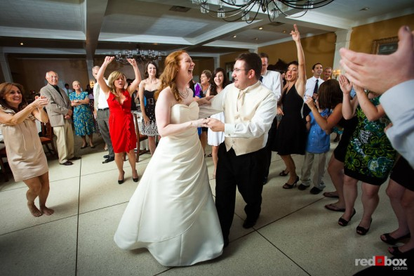 Katherine and Bryan dance during their wedding reception at the Women's University Club in Seattle. (Photo by Dan DeLong/Red Box Pictures)