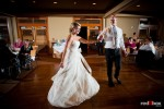Angi and Mike share the first dance during their wedding reception at Willows Lodge in Woodinville, WA. (Photo by Dan DeLong/Red Box Pictures)
