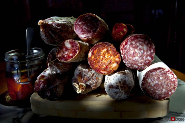 Hand crafted and specially selected salumi for Chef Scott Carsberg of Bisato Restaurant in Seattle. (Food Photography By Scott Eklund/Red Box Pictures)